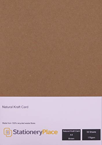 Stationery Place, Thin - Brown Natural Kraft Card A4 170 GSM 50 Sheet Pack