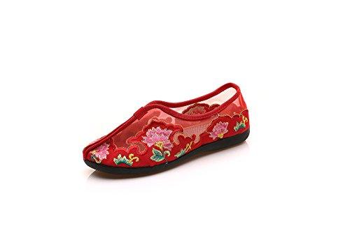 Kafei Brodé Dame Chaussures De Danse Plate Avec Tête Ronde Au Fond Mou Net Respirant Fil Marche Rouge