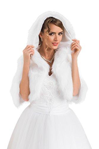 Damen Bolero Hochzeit Jacke Pelerine Brautjacke für die Braut Pelzstola Kapuzenpullover, Größe Eine Größe passt alle: 36-42, Farbe Elfenbein
