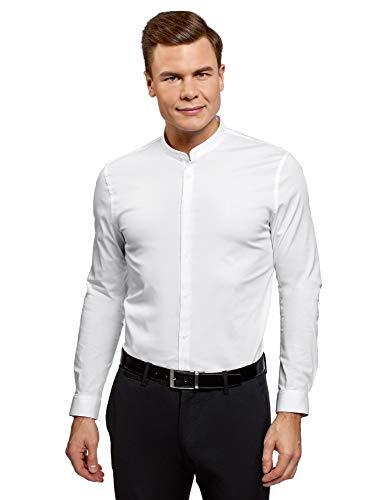 Oodji ultra uomo camicia silm fit con collo alla coreana, bianco, 40cm / it 46 / eu 40 / s