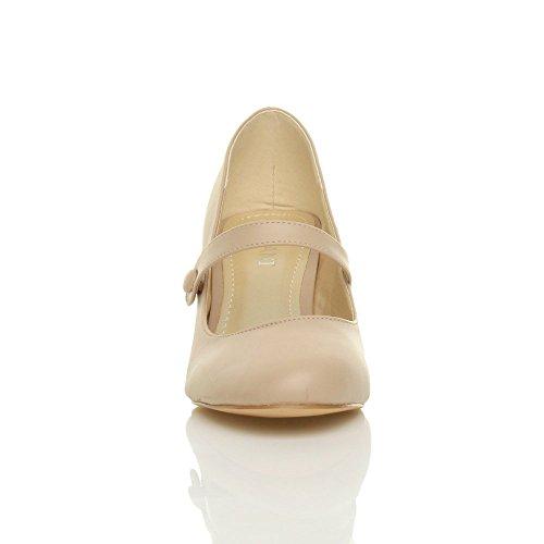 Damen Hoher Absatz Mary Jane Formal Abend Party Ball Pumps Schuhe Größe Beige Matt