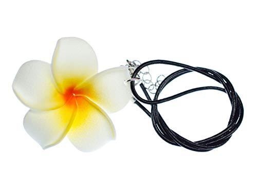 Miniblings Frangipani Halskette Blume Blumenkette Lederband Kette 45cm Hawaii Surfen