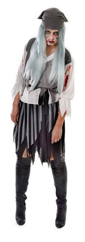 Blutige Zombie Pirate Lady - Adult Halloween Kostüm (Womens Pirate Halloween-kostüme)