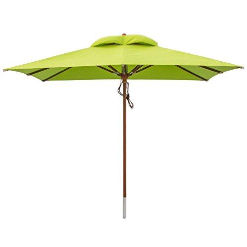 anndora® Sonnenschirm Gartenschirm 3 x 3 m eckig wasserabweisend - mit Winddach Apfel Grün/Limette