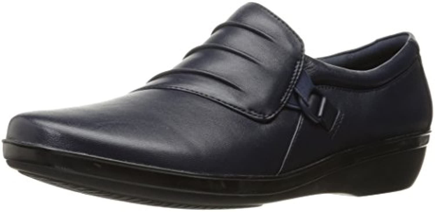 CLARKS Women's Everlay Leather Heidi Slip-On Loafer Navy Leather Everlay 8 M US 8deb88
