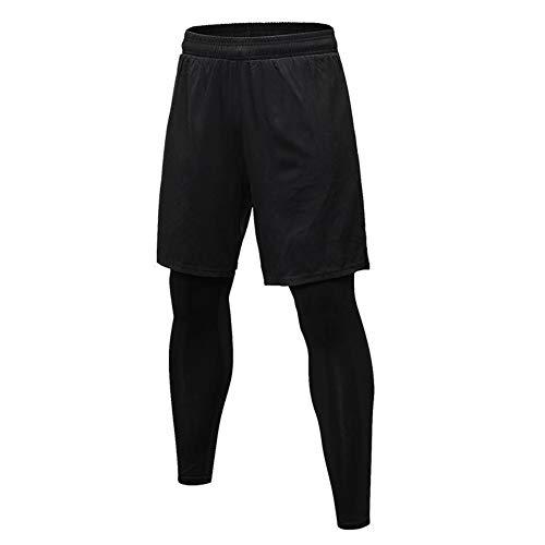 Syfinee Männer Sports Shorts 2 In 1 Training Laufen Enge Hose für Training Fitnessstudio Reiten (Engen Fitnessstudio Hosen)