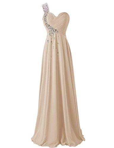 Dresstells, Robe de soirée de mariage/cérémonie/demoiselle d'honneur épaule asymétrique col en coeur pailletée Champagne