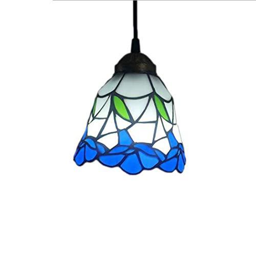 Lámparas colgantes de una sola cabeza, estilo Tiffany, estilo victoriano, 1 luz, 6 pulgadas, pantalla de vidrio de colores, iluminación de araña multicolor,A