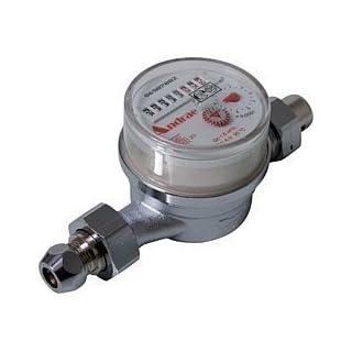 Andrae Einstrahl - Waschtisch-Wohnungswasserzähler Warmwasser Qn 1,5, 1,27 cm (1/2