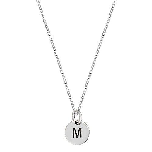 Silverly Frauen .925 Sterling Silber Runde Disc Anfangsbuchstaben Alphabet Anhänger Halskette, 46 cm