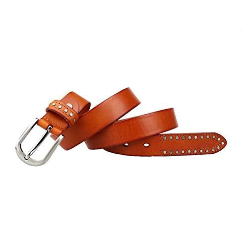 Yisaesa cintura in pelle da donna moda rivetto cintura con fibbia decorativa cinturini semplici (colore : lightcoffee, dimensione : taglia unica)