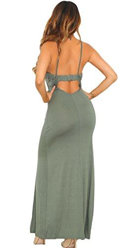 La Vogue Maxi Robe Fendue Haute Bretelle Dos Nu Moulant Soirée Gris