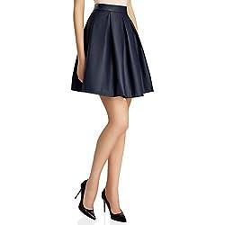 oodji Ultra Mujer Falda con Pliegues de Piel Sintética, Azul, ES 40 / M