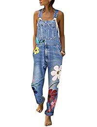 Tomwell Jeanslatzhose Damen Latzhose Jeans Hose Vintage Loose fit Jumpsuit Overall Blumen Denim Playsuit Romper