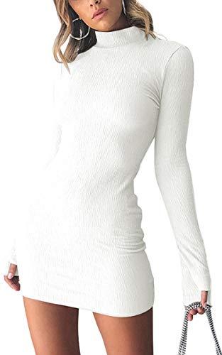 Angashion Damen Sexy Strickkleid Langarm Elegante Rollkragen Sweatshirt Winter Stretch Pulloverkleider Mini Weiß Large