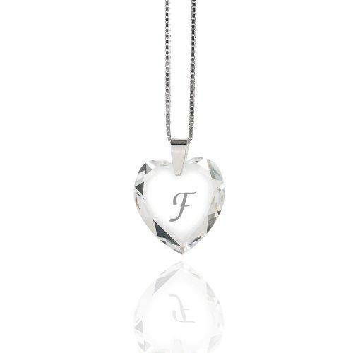 """Damen Halskette 925 Sterling Silber mit SWAROVSKI ELEMENTS Herz Crystal Buchstabe\"""" F\"""""""