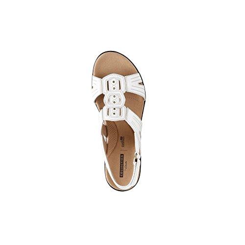 Clarks Leisa Vigne, Sandale Confortable de Dames en Forme de T white