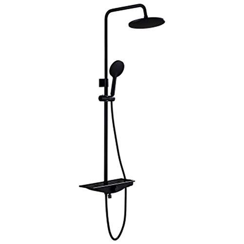 ASWT-Duschsysteme, European Style Retro Wand- Haus 3 Speed Umdrehung Schalter Verstellbare Edelstahl-Dusche-Satz, Booster-Düse Dusche Und Handbrause (Schwarz)