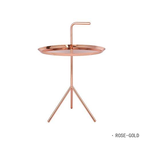 Full Love House® Table d'appoint Table basse Métal Nordic Rond Personnalité créative Salon Blanc Noir Rose or Bleu Métal jambes fines ( Couleur : Or rose )