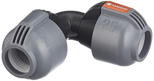 Gardena Sprinklersystem L-Stück: Rohrverbinder für Richtungsänderung des Verlegerohrs, 25 mm, Quick&Easy Verbindungstechnik, kompatibel mit Gardena Verlegerohre 25 mm, werkzeuglose Montage (2773-20)