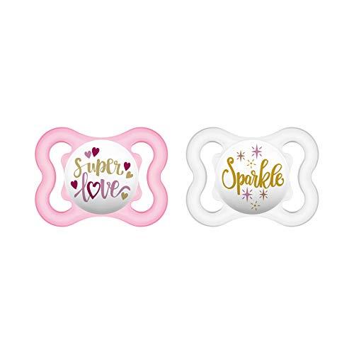 MAM Air Silikon Schnuller im 2er-Set, extra leichtes und luftiges Schilddesign, Baby Schnuller aus speziellem MAM SkinSoft Silikon mit Schnullerbox, 0 - 6 Monate, rosa