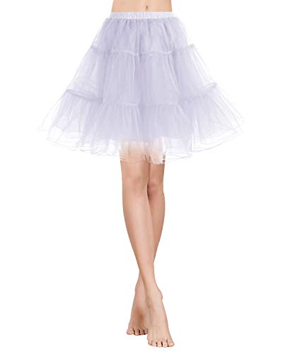 Gardenwed Tutu Damenrock Tüllrock Petticoat Unterrock 50er Kurz Ballet Tanzkleid Rockabilly Minirock Underskirt White M