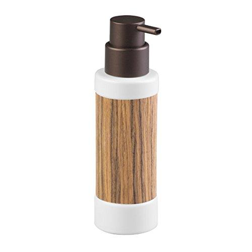 mDesign Dosificador de jabón recargable - elegante dispensador de jabón de cerámica de alta calidad con madera de palisandro y acabado en bronce - con 340 ml de capacidad - para cocina y baño