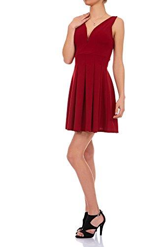 Laeticia Dreams Damen Kleid Mini V-Ausschnitt S M L, Farbe:Weinrot;Größe:38