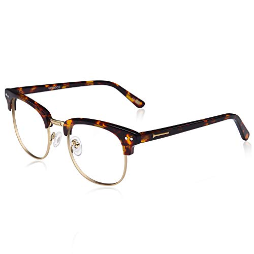 VEGOOS 50er Jahre Retro Nerd Brille Halbrahmen Hornbrille Stil Rockabilly Streberbrille (Tortoiseshell)