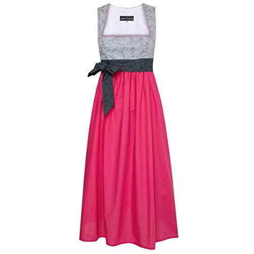 Dirndl für Schwangere Kettl in Grau und Rosa mit schwarzer Schleife