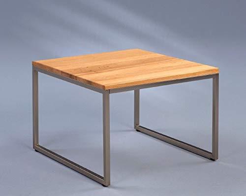 FidgetGear COUCHTISCH MASSIVHOLZ WILDEICHE 60 x 60 x 43 - Gestell Edelstahl - Quadrat Tisch Show One Size
