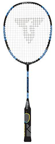 Talbot Torro Lern-Badmintonschläger ELI Junior, verkürzte Länge 58 cm, Lerngriff, Tropfenkopf, ideal für Schulsport und Training, schwarz-gelb-blau, 419613