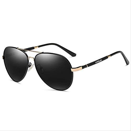 LKVNHP Neue Art UndWeise DerQualitäts -Marken DerKlassischen Mens -Qualität Sonnenbrille Polarisierte Linse Uv400 Männlich Sonnenbrillen Für Männer Brillen ZubehörBlack Gold