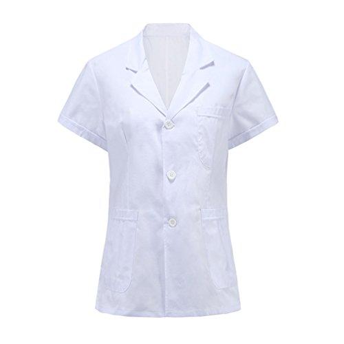 Frau weiße kurzarm kurze abschnitt ärzte krankenschwestern arbeitskleidung (S, baumwolle&polyester)