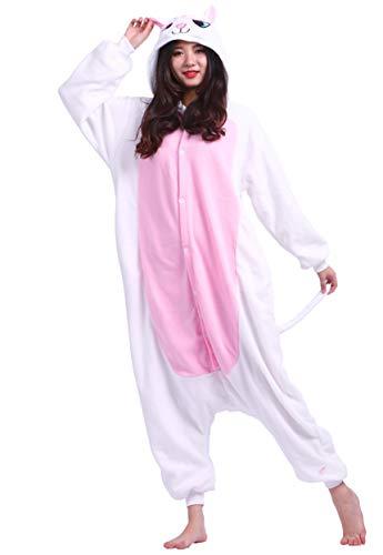 Jumpsuit Onesie Tier Karton Fasching Halloween Kostüm Sleepsuit Cosplay Overall Pyjama Schlafanzug Erwachsene Unisex Lounge Kigurumi Weiß Katze for Höhe 140-187CM