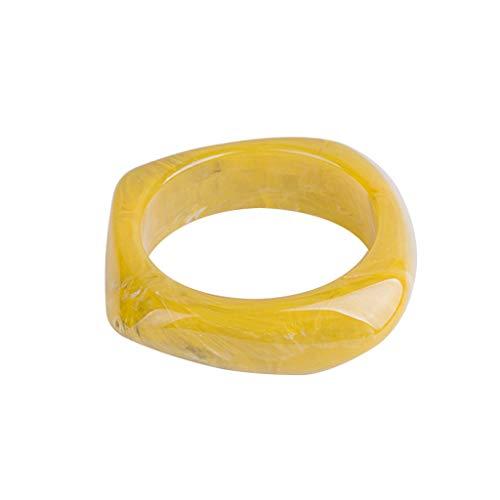 Amarzk Harz Armreif Mode Unregelmäßigen Blumendruck Vintage Kreative Bernstein Armband Armreifen Geometrische Charme Dame Ring (Gelb)