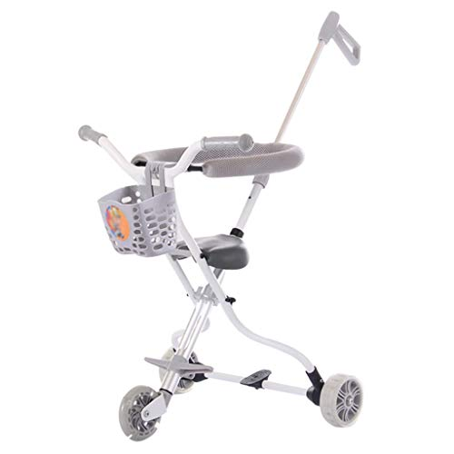 Baby carriage 2,65 kg Leichtes Dreirad Kinder Trike Kinder Faltbarer Buggy Jungen und Mädchen für Outdoor Travel Jogger System mit Bremsen, Aluminium (Blau/Rosa/Grau)
