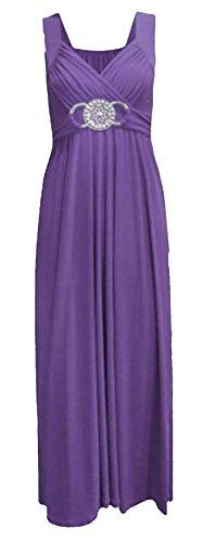 ses Stretch Überkreuzte Träger Schnallengürtel Am Rücken Gebundener Verschluss Langes Maxi Kleid Plus Größen Neu - Lila, EU 48/50 (Lila Kleid Plus Größe)