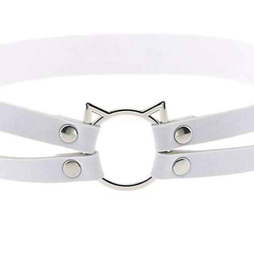 Generic Frauen Leder Strap Strumpfband Gothic Katze Bein Oberschenkel Ring Gürtel Strumpfgürtel - Weiß, 40 bis 80 cm - 7