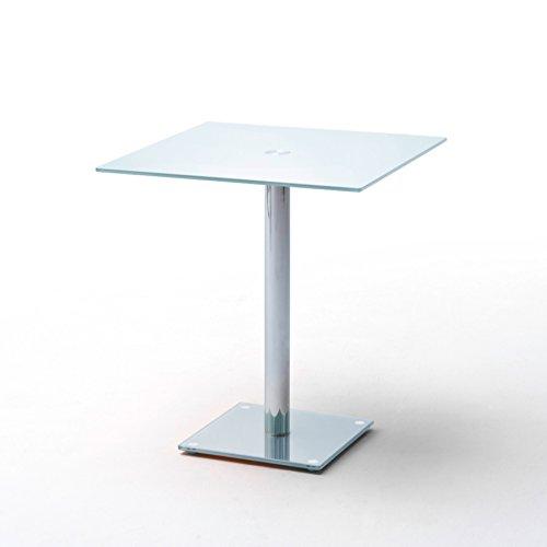 Riess Ambiente Exklusiver Esstisch Bistrotisch Fluid Eckig 80 x 80cm Opalglas Weiß Chrom...