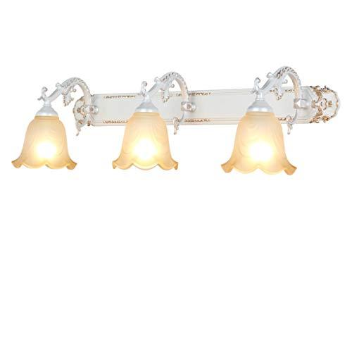 Bd Spiegel-vorderes Licht Badezimmer-LED-Eitelkeits-Leuchte europäische StyleIron-Lampen-Körper-Glas-Lampenschirm-Spiegel 3c+ (Color : White light-3head-53cm) -