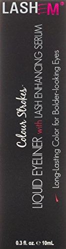 Lashem Eyeliner Liquido con Siero Allungante e Volumizzante, Colour Strokes, Nero Perlato