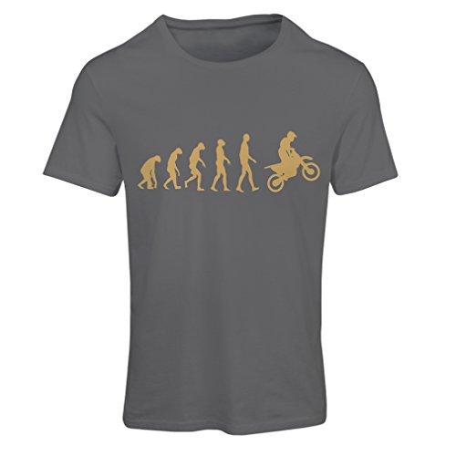 Frauen T-Shirt Motocross-Entwicklungs-Schmutz-Fahrrad, Motorrad-Gang, laufende Abnutzung, Motorrad Weg von Roading (Small Graphit Gold)