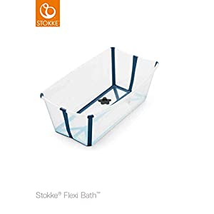 Stokke Flexi Bath - Bath tub for Babies, Toddlers & Children - Extremely Light and Collapsible - Colour: Transparent Blue