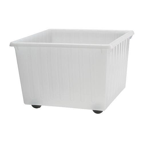 IKEA VESSLA - caja de almacenaje con ruedas, blanco - 39x39 cm