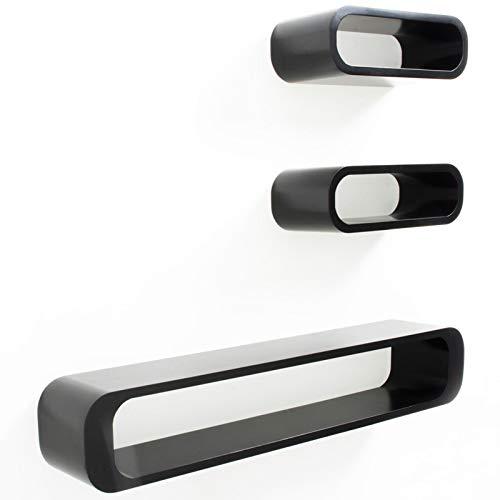 casa pura® Design Wandregal Lennon | 3-teilig | matt | freischwebend (versteckte Halterung) | gesundheitsfreundliche Materialien | 3 Farben (schwarz) - Cube Storage-system