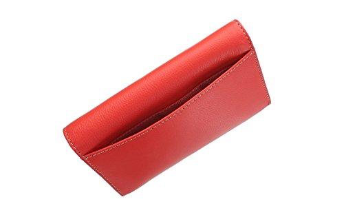 Patta in pelle collezione di Tula MALLORY sopra borsa 7487 Scarlet Pillar Box