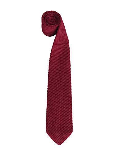 WANYING Herren 7cm Schmale Strickkrawatte Gestrickte Narrow Krawatte Retro Sporty Casual Büro Basic für Gentleman - Einfarbig Bordeaux Rot