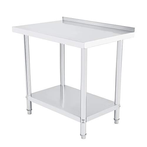 Edelstahl Doppelschicht Konsole, Stahl Arbeitstisch, Abnehmbar für Küche, Fabrik (91X61CM mit Kantenschutz)