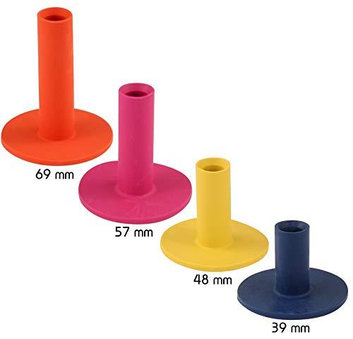 Golfas 4 Gummitees für die Driving-Range Matte - Rangetees - Rubbertees - Wintertees in Höhen zu je: 39/48 / 57/69 mm -